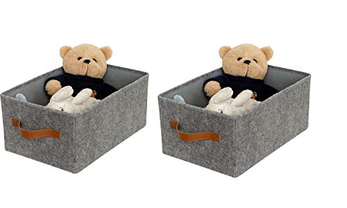 ITIDY Storage-Box, 2pk Super Soft Felt Bins,Foldable Storage Cubes with Handle, Storage Baskets Container Drawer Organizer, Gray