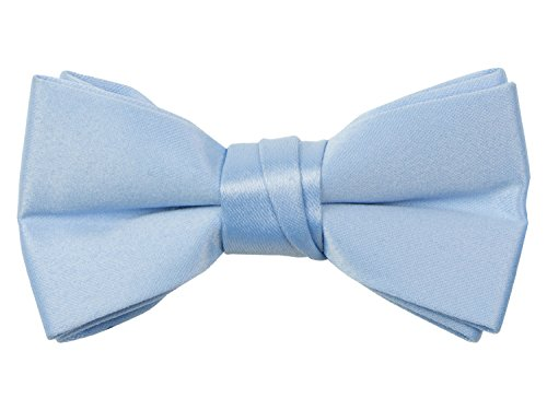 Spring Notion Boys' Pre-tied Banded Satin Bow Tie Small Light Blue