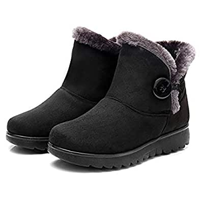 VFDB Women Winter Botton Snow Ankle Boots Fur Warm Platform Slip On Booties Black Size: 4.5