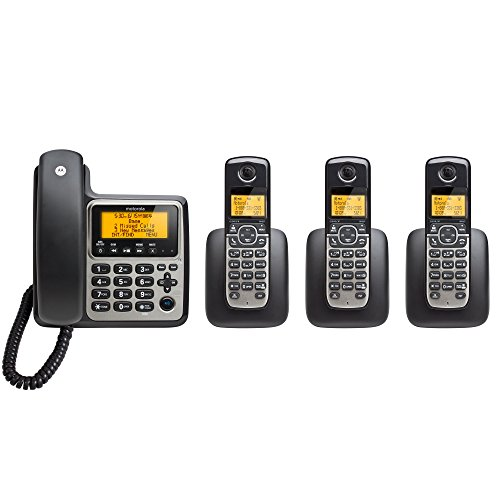 Motorola DECT 6.0 Corded Base Phone with 3 Cordless Handsets