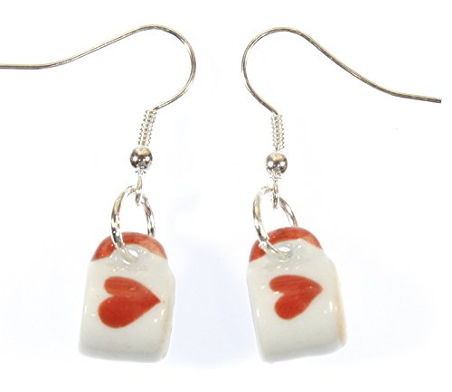 Style-ARThouse for The Love of Coffee, Tiny Porcelain Coffee Mug Earrings with Heart