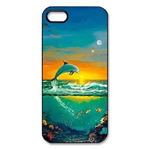 Case For Iphone 6 Plus 5.5 Inch Cover Hard Back Protective-Unique Design Cute Dolphin Patterned Sunset Ocean Sea Case Perfect as Christmas gift(5)