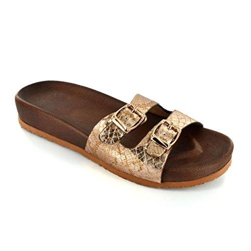 Corkys Footwear Mujer Wsl Mujer Oro Serpiente Plata Campana Sandl Oro / Plata