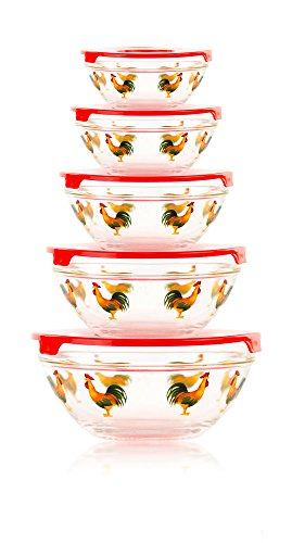 5 piece glass bowl set rooster - 6