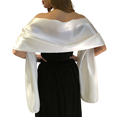 LANSITINA Women's Satin Shawl Wrap Super Large Long Scarf in Solid Color for Evening Dress/Wedding Party(L,Ivory)