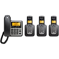 Motorola DECT 6.0 Corded Base Phone with 3 Cordless Handsets and Answering System M804C