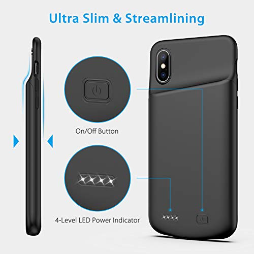 Battery Case for iPhone X/XS, 4000mAh Ultra Slim Protective Charging Case Rechargeable Extended Battery Pack for 5.8 inch iPhone X/XS (Black) by Swaller (Image #3)