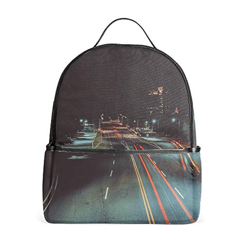 Casual Backpack City Night Road Markings School Bag Students Kids Travel Backpacks