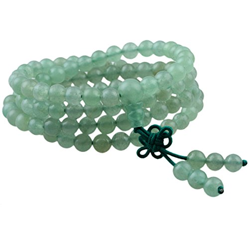 SUNYIK Green Aventurine 108 Tibetan Buddhist Mala Bracelet Stone Beaded Prayer Bead