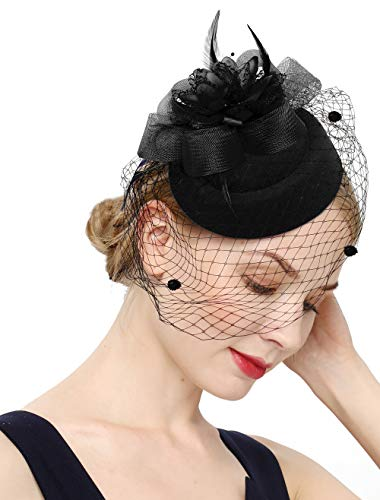 Cizoe Fascinator Hair Clip Pillbox Hat Bowler Feather Flower Veil Wedding Party Hat Tea Hat(12-Black1)