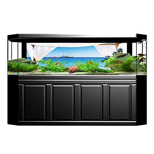 Jiahong Pan Background Fish Tank Decorations Through A Balinese Bed Sunshine Clear Sky Honey Blue White Fish Tank Wallpaper Sticker L29.5 x H17.7 (Hat Balinese)