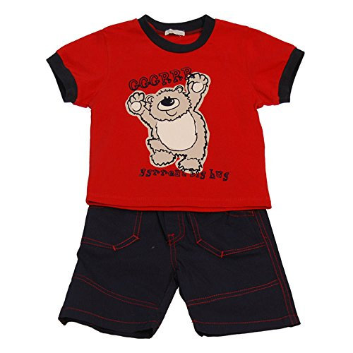 Pitter Patter Baby Clothes (GGGRRR - Ggrreat big hug tshirt and shorts set by Pitter Patter - Red - 0-3 Months)