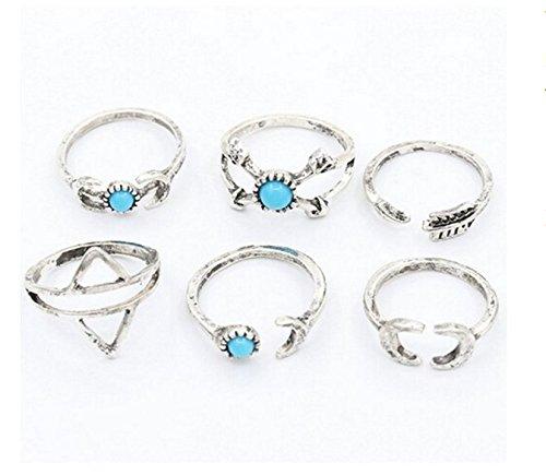 Smilucky Fingerring-Set für Damen, 6-teilig, mit Türkis-Schmucksteinen, mit Pfeil- und Mondmotiven