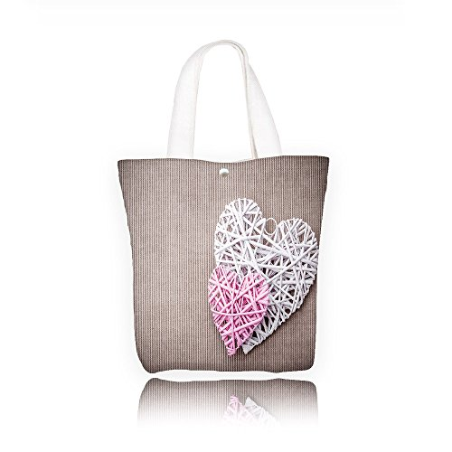 Large Printed Canvas wicker pink and white hearts on beige paper background Fashion Ladies Zippered Shoulder Bag(Colourful) (Wicker Wholesale Hearts)