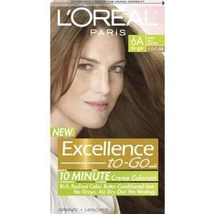 Amazon.com : Loreal Paris Excellence To Go Hair Dye 6A Light Ash Brown 10 Minute  2 Pack