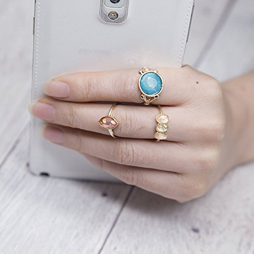 Turquoise Fashion Boho Elegant 3Pcs Retro Auger Vintage Rings Finger Jewelry