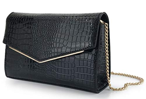 Women Envelop Glossy Evening Bag Croc Patent Leather Clutch Chain Cross Body Bag -