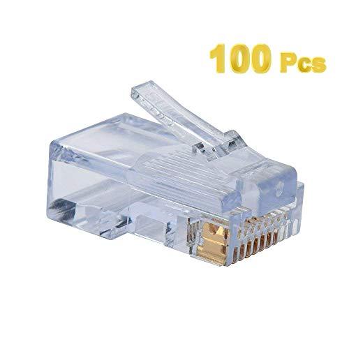 (ElementDigital 100pcs RJ45 Plug Cat5E Cat5 Rj-45 Lan Connector Crystal Head Network)