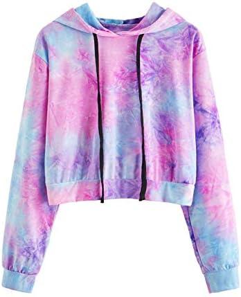 MAKEMECHIC Women's Long Sleeve Tie Dye Print Sweatshirt Crop Top Hoodies