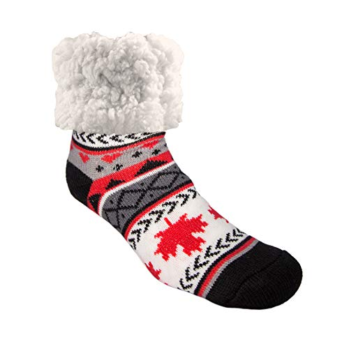 Pudus Maple Leaf Cozy Winter Slipper Socks for Women and Men with Non-Slip Grippers and Faux Fur Sherpa Fleece - Adult Regular Fuzzy Socks from Pudus