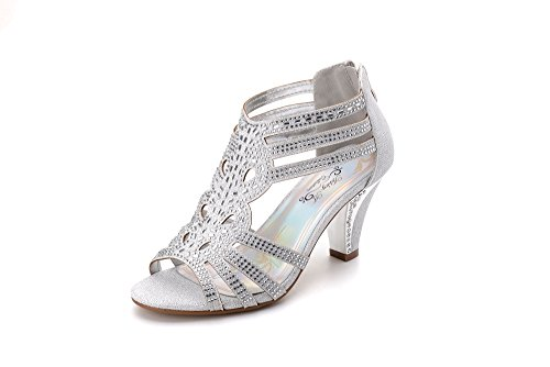 Ashley A Women's Lexie Crystal Dress Heels Low Heels Wedding Shoes KINI25 Silver 7 by Ashley A