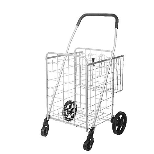 ZK Large Heavy Duty Folding All Purpose Utility Shopping Grocery Luggage Storage Cart Jumbo Size with Swivel Wheels-Capacity Up to 100 Lb, Rolling Cart,Optional Single or Double Basket