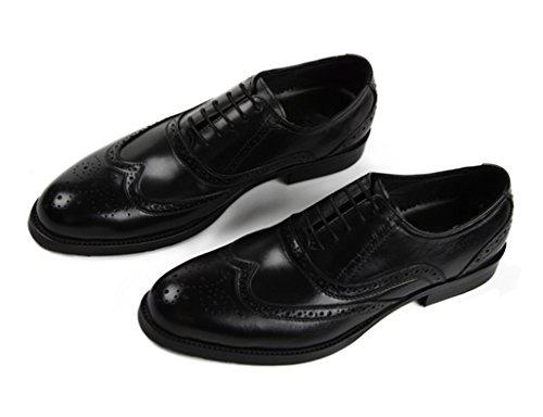 Herren Lederschuhe Männer Lederschuhe wies formelle tragen britische Art Business atmungsaktive einzelne Schuhe Herrenschuhe ( Farbe : Red-brown , größe : EU39/UK6 ) Schwarz