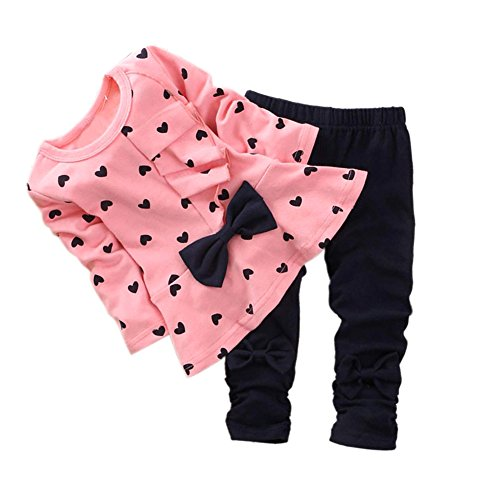 Shanshan Super Cute Baby Girl Bowknot 2pcs Set Children Clothes Suit Top and Pants (Age(2T), Pink)