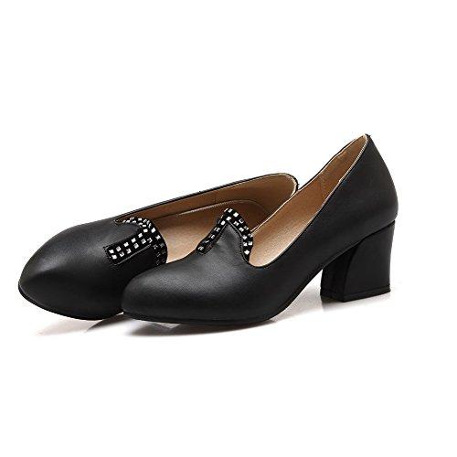 Amoonyfashion Da Donna A Punta Chiusa Con Punta A Punta Ginocchiera Pu Scarpe Rigide-scarpe Nere