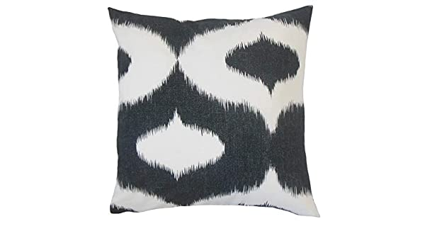 The Pillow Collection P18-D-DALESFORD2-JET-C100 Himani Ikat Pillow Jet