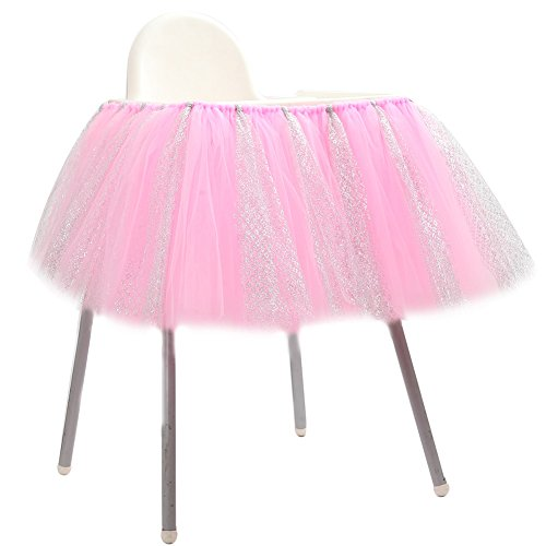 Adeeing High Chair Decoration Favor Baby Shower Party Decoration Tulle Table Skirts Cover Table Cloth for Girl Princess Party, Wedding, Birthday 36x14inches Pink (Round Chair Rectangular)