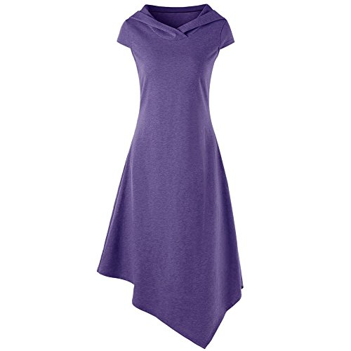 HGWXX7 Women Summer Casual Sexy Solid Backless Lrregular Hem Cotton Hooded Dress (S, Purple) (Cotton Hooded Lace)