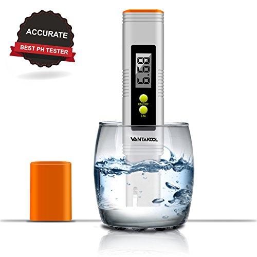 VANTAKOOL Digital PH Meter, 0.01 PH High Accuracy Pocket Size PH Meter/PH Tester with 0-14.0 Measuring Range, Water Quality Tester for Household Drinking Water, Swimming Pools, Aquariums (Orange) by VantaKool