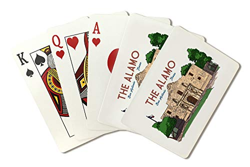 San Antonio, Texas - The Alamo - Line Drawing 95674 (Playing Card Deck - 52 Card Poker Size with Jokers)