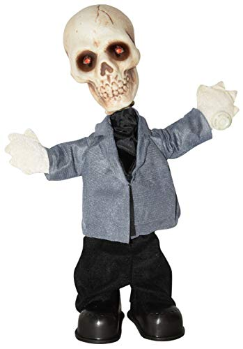 Standing Tabletop Animated Dancing and Singing Halloween Skeleton, 16 Inch
