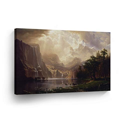 Among The Sierra Nevada California, Albert Bierstadt Classic Art Canvas Print Famous Fine Art Oil Painting Reproduction Canvas Wall Art Home Decor Stretched Ready to Hang-%100 Made in The USA- 30x40 ()