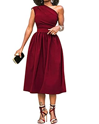 Cymbopogon Womens One Shoulder Dress Formal Evening Elegant Sleeveless Midi Dresses with Pockets