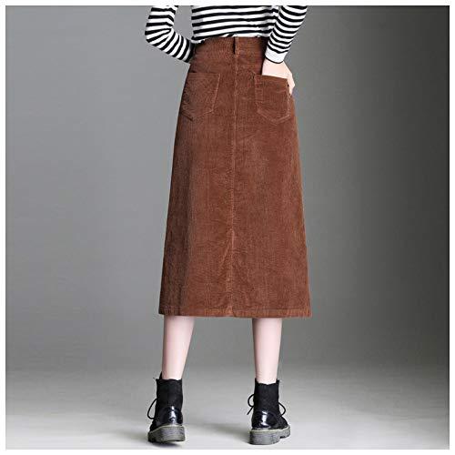 Mujer E Otoño Medio Vestido Casual Womens Cuerpo Cintura Alta Maoying Invierno Falda Bolsillo Una De Brown Lápiz Línea xB8xSwfq