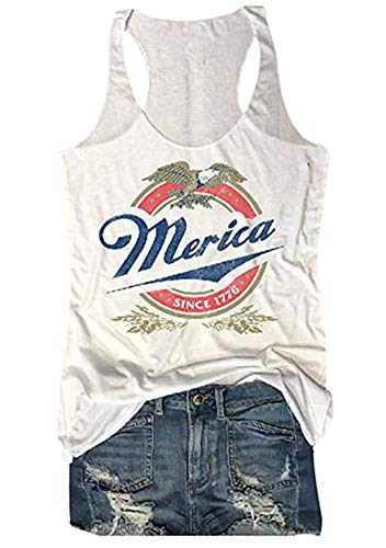 (MK Shop Limited Women Merica Since 1776 Tank Sleeveless Racerback Tanktops Vest T-Shirt (White, XL))