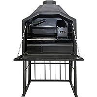 Megamaster Braai 800 Luxusgrill schwarz XXL extravagant Garten ✔ eckig ✔ stehend grillen ✔ Grillen mit Holzkohle ✔ mit Station