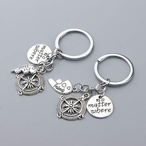 NATFUR Friendship Gift No Matter Where Best Friends Key Chain Ring BBF Pendant Elegant Novelty Key-Chain for Women Cute Holder for Gift Elegant Great Lovely Goodly