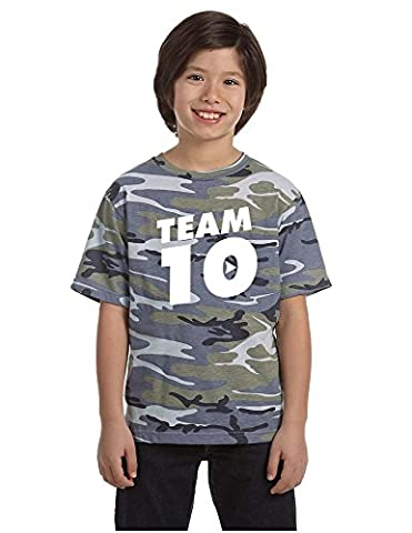 Allntrends Kids Youth T Shirt Team 10 Camouflage Tee Cool Trendy Top (S, Blue Woodland) - Woodland Camouflage Tee T-shirt Top