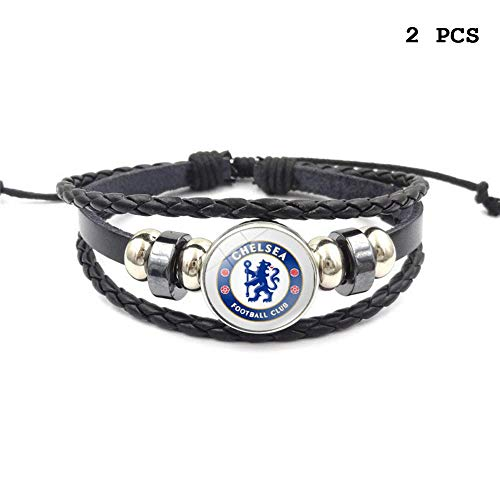 FANwenfeng Retro Premier League Soccer Club Badge Beaded Woven Leather Bracelet Football Sport Wristband for Fans 2 Pcs (Chelsea)