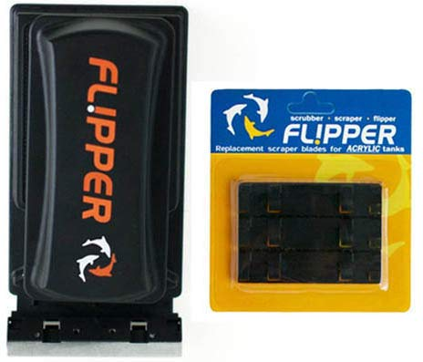 Flipper Standard 2 in 1 Magnet Aquarium Algae Cleaner (Glass or Acrylic) & Replacement Plastic Blades Bundle