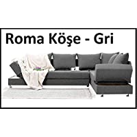Sigma Tasarım Roma Köşe Takımı - Yataklı Keten Gri