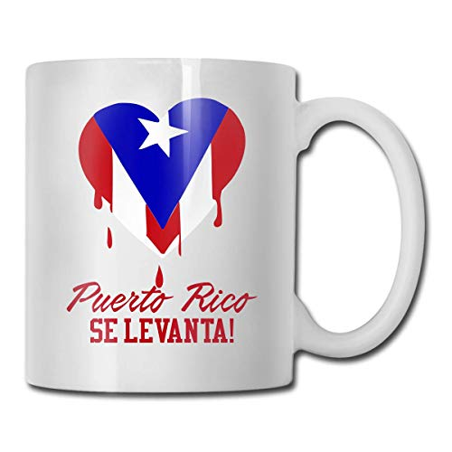 Puerto Rico Se Levanta Cocoa Mugs Ceramic Coffee Cups with Large C-Handle Funny Coffee Mug Cool Coffee Tea Cup 11 Ounces Perfect Gift for Family and Friend