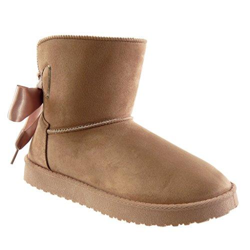 Angkorly - damen Schuhe Stiefeletten - Schneestiefel - Schnürsenkel aus  Satin flache Ferse 2.5 CM Rosa 4459a12229