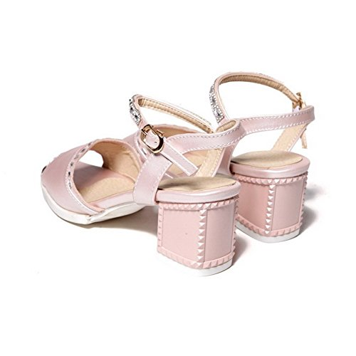 AllhqFashion Women's Solid Pu Kitten Heels Open Toe Buckle Sandals Pink SMrQYAEz