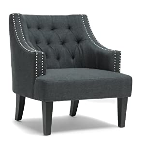 Amazon Com Baxton Studio Millicent Linen Arm Chair Gray