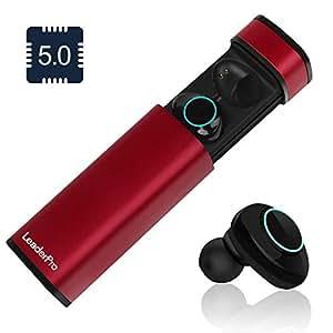 LeaderPro Auriculares In-Ear Mini Auriculares Bluetooth Inalámbricos TWS 5.0 CVC 6.0 con Micrófono y Caja de Carga Arranque automático Carga magnética de Succión para iPhone Samsung(Rojo)
